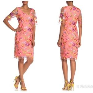 TRINA TURK Coral Embroidered Sheath Dress Floral